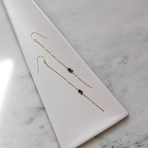 Raw Black Diamond Earrings, Dainty Delicate 14k Gold Filled Earrings, Minimal Simple Everyday Earrings, Bridal Bridesmaid Girlfriend Gift