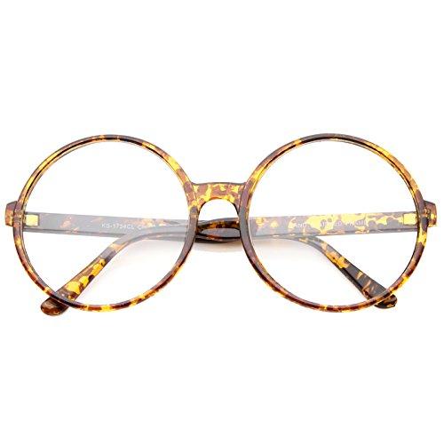 sunglassLA - Oversize Round Nerd Wizard Character Costumes Glasses Clear Lens 60mm (Orange Tortoise/Clear)