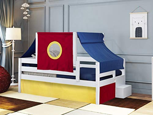 JACKPOT! Castle Twin Bed with Step Red Blue and Yellow Tent & Curtains, White