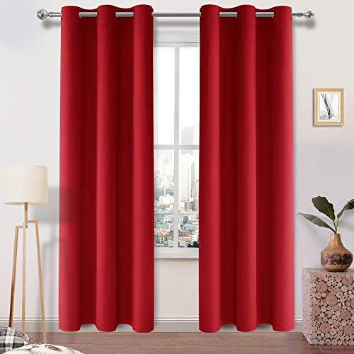 DWCN Red Blackout Curtains Thick Room Darkening Thermal Insulated Elegant Grommets Window Drapes for Bedroom Dining Room Block Out Light Panels 42 x 84, 2 Pairs