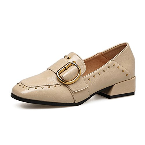 T-july Womens Retro Oxford Flat Shoes Antiscivolo Scarpe Basse A Tacco Alto Mocassini Beige
