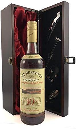 Dufftown Glenlivet 10 Years Old Speyside Single Malt Scotch Whisky Distillery Bottling en una caja de regalo forrada de seda con cuatro accesorios de vino, 1 x 700ml