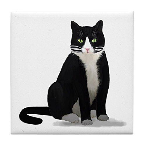 - CafePress Black and White Tuxedo Cat Tile Coaster, Drink Coaster, Small Trivet