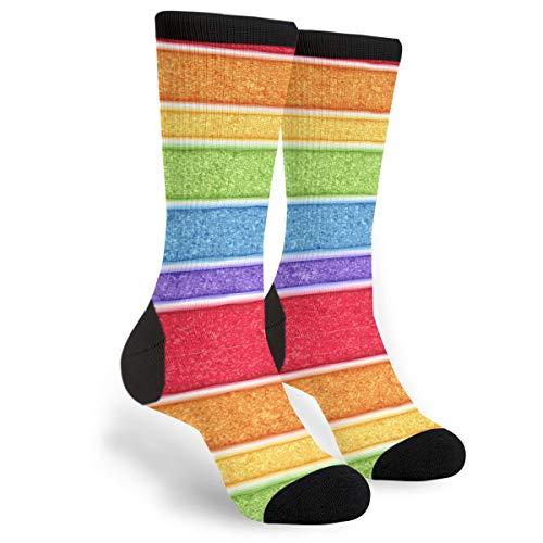 Fashion Travel Breathable Socks Rainbow Sponge Cake Men & Women Running Casual Socks