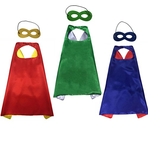 Heroes And Villains Fancy Dress Costume Ideas (Huahuamini Superhero Kids Capes and Mask Party Dress-Up Games Decoration Role Cosplay Costumes (Costume with 3 pack))