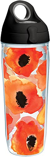(Tervis 1243379 Watercolor Poppy Tumbler with Wrap and Black with Gray Lid 24oz Water Bottle, Clear)