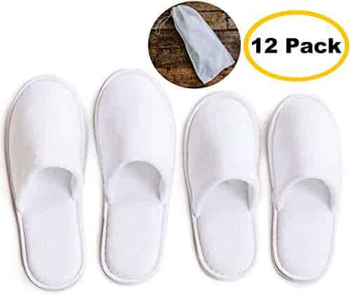 8b87cafdf7ba ModLux Spa Slippers - 12 Pairs of Cotton Velvet Closed Toe Slippers with  Travel Bags –