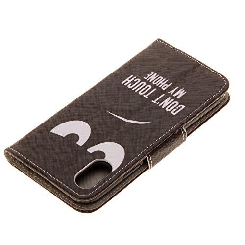 iPhone X Hülle schwarze Augen PU Leder Wallet Handytasche Flip Etui Schutz Tasche mit Integrierten Card Kartensteckplätzen und Ständer Funktion Für Apple iPhone X / iPhone 10 (2017) 5.8 Zoll + Zwei Ge