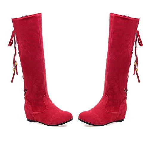 AllhqFashion Mujeres Puntera Redonda Sólido Caña Media Mini Tacón Botas con Nudo Rojo
