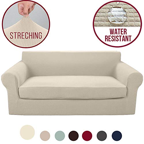 Vailge 2-Piece High Stretch Jacquard Sofa Slipcover, Water Resistant Sofa Cover with Separate Cushion Cover, Machine Washable Couch Covers/SlipCover for Dogs,3 Cushion Couch,Kids,Pets(Sofa:Beige)