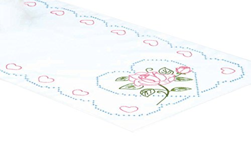 Jack Dempsey Stamped Table Runner/Scarf, 15 by 42-Inch, Rose and Hearts