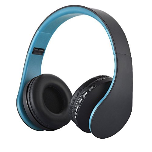 Over-ear Wireless Headphone,WONFAST Foldable 4 in 1 Bluetooth and Wired Stereo Hands-free Calling Headset with Microphone for iPhone Samsung,Support FM Radio,MP3 Player (Black/Blue)