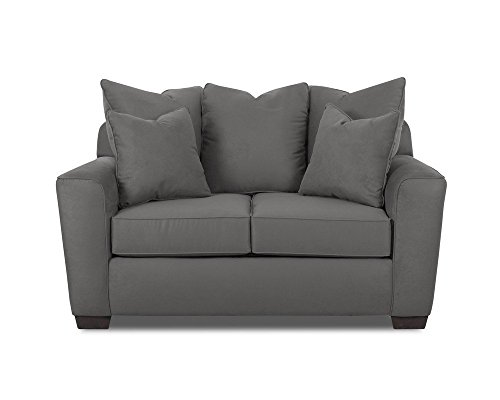 Klaussner HEATHER Loveseat, Microsuede Charcoal