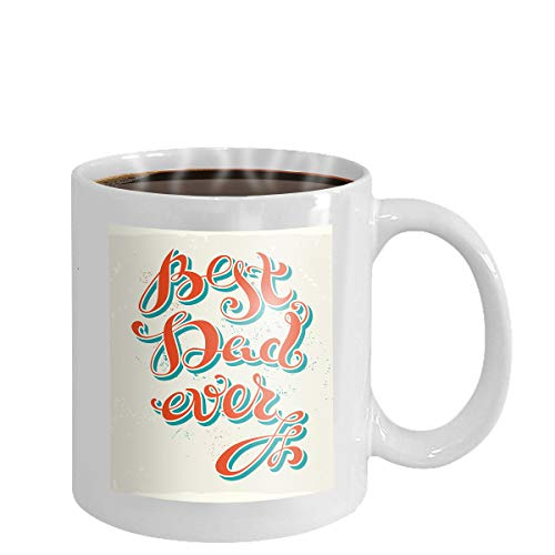 Coffee cup mug best dad ever horizontal dark card textured background handwritten lettering bubble speech template fathers day 11oz