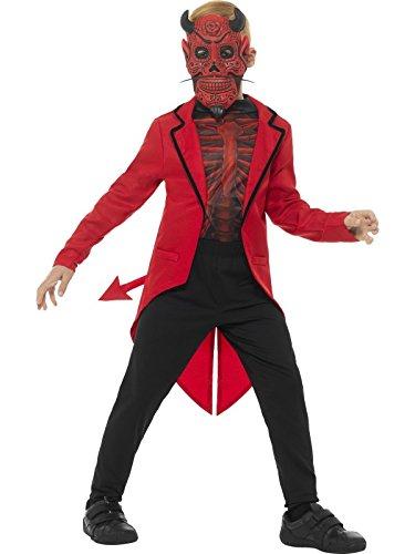 Smiffy's 45122L Deluxe Day of the Dead Devil Boy Costume, Red, (Boys Devil Costume)