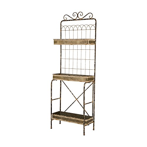 Glitzhome Rustic Plant Stand Metal Storage Shelf 3 Sturdy Tiered Home Decor by Glitzhome