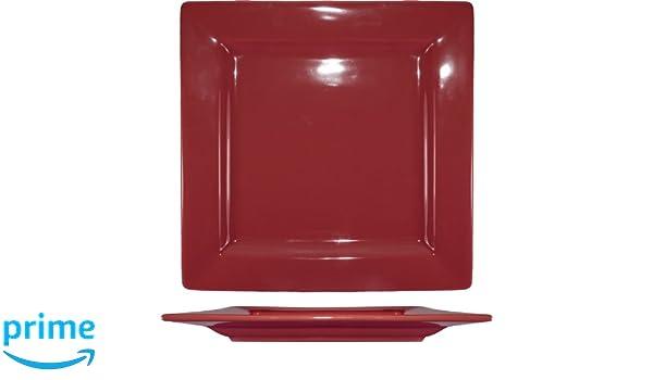 ITI EL-9-RH Harvest Square Plate 9-1//4-Inch 12-Piece Rhubarb International Tableware Inc.