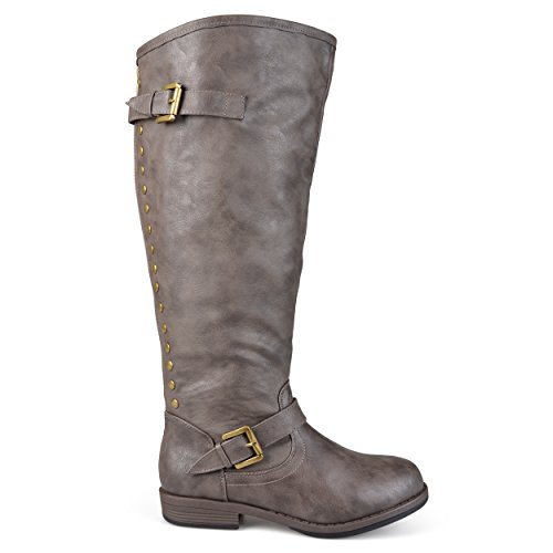 Brinley Co Women's Durango/ Spokane-xwc Riding Boot, Taupe Extra Wide Calf, 8 M US (Studded Riding Boots Brinley)
