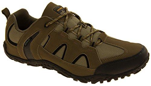 Gola para hombre de la materia textil de imitación zapatos de trekking para caminar de cuero Topo/negro