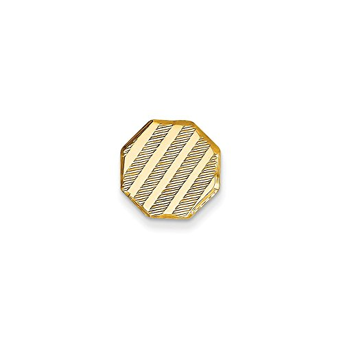 14K Yellow Gold Octagon-Shaped Tie Tac with Diagonal Stripes by CoutureJewelers