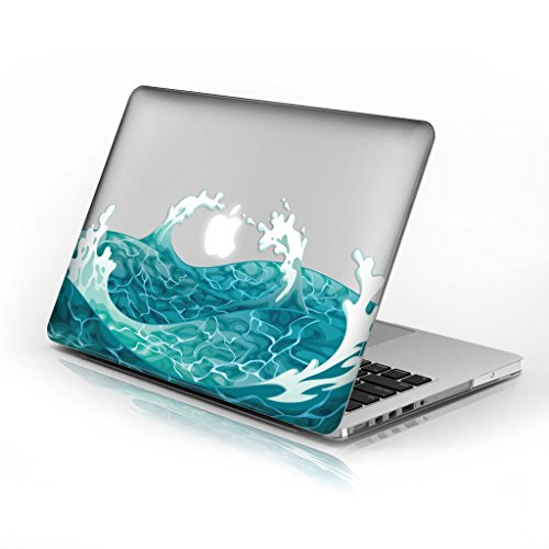 Rubberized Hard Case for 12 Inch New Macbook Pro model number A1534, Swirling Wave design with clear bottom case, Come with Keyboard Cover by Cas Graphique