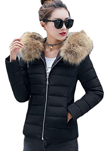 Jacket Collar Warm Coat Women's Black Down EKU Zipper Short Fur Thicken Faux Quilted Puffer wvdRYqt