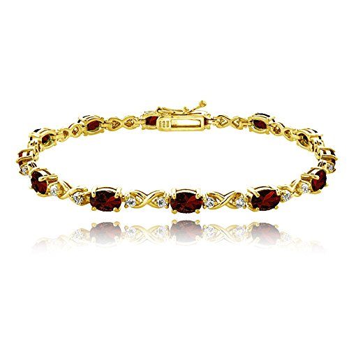 (GemStar USA Yellow Gold Flashed Sterling Silver Garnet 6x4mm Oval Infinity Bracelet with White Topaz Accents)
