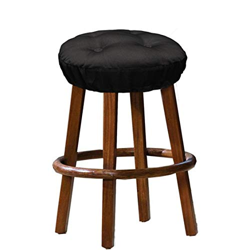 100 Bar Stools - Cotton Craft - 100% Cotton Twill Bar Stool Cover 2 Pack - Black - 12 Inch Round - Tufted Stool Cover is Filled with Comfortable 100% Poly Fill and has an Elastic Skirt to Keep it Locked in Place