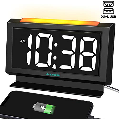ANJANK Digital Alarm Clock for Bedrooms - Easy Night Light,Large Numbers with LED Display Dimmer,Dual USB Charger Ports,AC Powered Compact Clock for Desk,Bedside,Nightstand(Black) (Clock Alarm Bedroom)