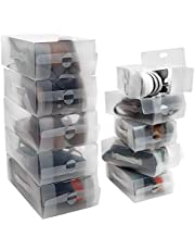 Kurtzy Przezroczyste Plastikowe Pudełka do Przechowywania Butów (10 Sztuk) - Do Kobiecych, Męskich i Dziecięcych Butów - Łatwe w Układaniu, Składane, Karbowane Pudełka do Magazynowania i na Podróż