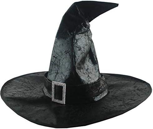 シャーリングウィッチハット レトロウィッチハット パーティーハット 魔女の帽子 三角帽子 アダルトレディースブラックウィッチハッ