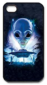 Rugged iPhone 4S Case,Aliens And Ufo Polycarbonate PC Plastic Hard Case Cover for Apple iPhone 4S/4 Black