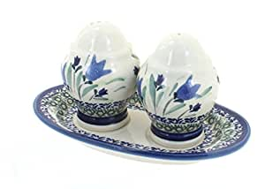 Polish Pottery Blue Tulip Salt & Pepper Shakers with Dish