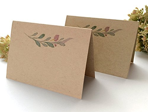 30 Pack - Rustic Wedding Place Cards with Watercolor Floral Design - Blank Kraft Write Your Own Names Wedding Place Cards - Wedding Escort Cards - Pack of 30