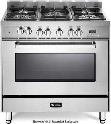 Verona VEFSGE365NSS 36' Freestanding Dual Fuel Range with 5 Sealed Burners in Stainless Steel