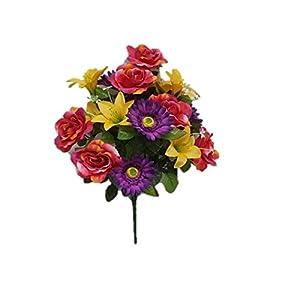 """Silk Flower Garden Roses Lilies Daisies Mixed Bouquet 18 Heads 21"""" (Spring Mix) 53"""
