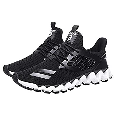 Yong Ding Men Breathable Sneakers Lightweight Non Slip Road Running Shoes Lace Up Comfy Trainers Fashion Sneakers Black