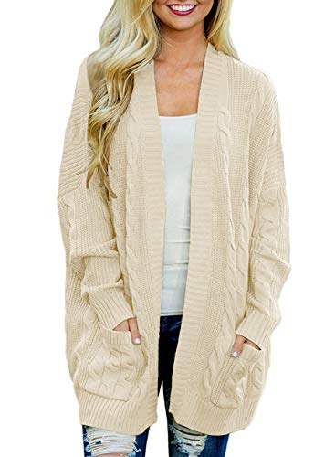 - Doballa Women's Open Front Chunky Cable Knit Twisted Cardigan Sweater Coat With Pocket (M, Beige)
