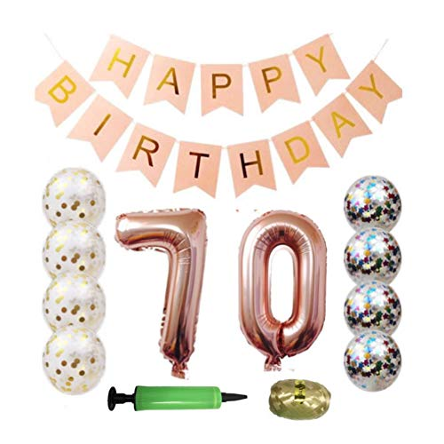 QTW 70th Birthday Party Supplies - Rose Gold 70th Birthday Balloon, 70th Birthday Banner, Confetti Balloon Decoration, Female 70th Birthday, use Them as Photo Props (Rose Gold 70)
