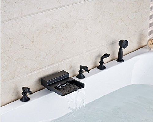 Gowe New Waterfall Spout Bathroom Tub Faucet Deck Mounted Sink Mixer Tap Oil Rubbed Bronze Finished 3