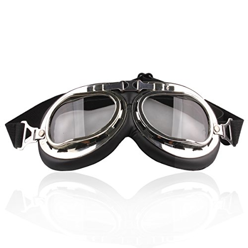 UZZO Safty Goggles Motocycle Padded Eyewear For Raf Pilot Aviator,Scooter Biker,Motocross ,Cruisers,Specially Made to Keep Sun UV, Dust And Wind Out Of Your Eyes£¨Somked - Your Sunglasses To Face Fitting