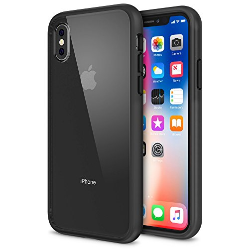 Price comparison product image iPhone X Case, Maxboost HyperPro Hybrid Apple iPhone X Clear Case with GXD GEL [Drop Protection] For iPhone X / 10 Phone 2017 [Reinforced Frame] TPU Bumper + Clear Hard PC Back Cover -Smoke/Orange