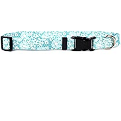 """Yellow Dog Design Teal Lace Flowers Dog Collar with Tag-A-Long ID Tag System-Small-3/4 Neck 10 to 14"""""""