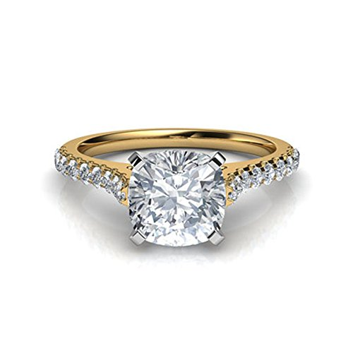 (luxrygold 1Ctw Cushion & Round Clear CZ Diamond 14K Yellow Gold Plated Tall Cathedral Engagement Ring)