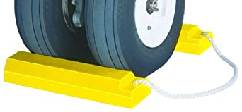 "Tigerchocks AC3515-RP-P Urethane Lightweight Commercial Aviation Wheel Chock with Rubber Base, Yellow, 15"" Length, 5"" Width, 3.25"" Height (Pair)"