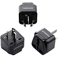 TESSAN Grounded Travel Plug Adapter Universal to Australia/China - Travel Prong Converter Adapter Plug Kit for Australia/China(Type I) - 3 Pack