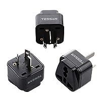 TESSAN Grounded Travel Plug Adapter Universal to Australia/China - Travel Prong Converter Adapter Plug Kit for Australia/China(Type I) - 3 Pack