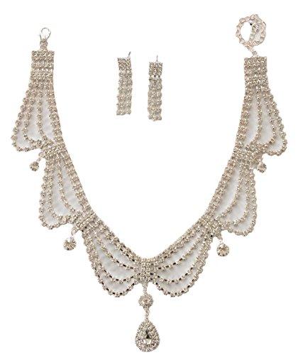 Secret for Longevity Classic Art Deco Vintage Retro Clear Crystal Rhinestone Antique Style Statement Wedding Bridal Prom Necklace Choker Earring Set