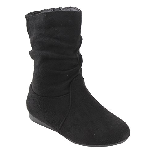 Girls Faux Suede Boots (LINK FO65 Girl's Side Zipper Flat Heel Slouchy Mid Calf Boots, Color Black, Size:10 M US Toddler)