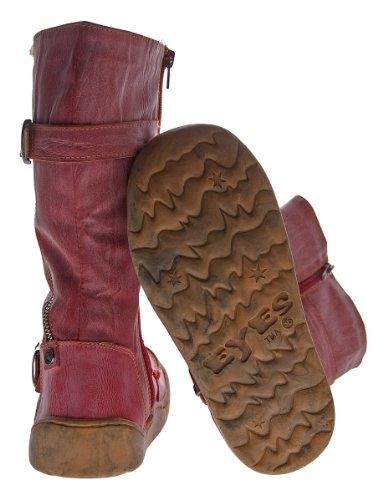 Leder Winter Stiefel TMA 3949 Damen Schuhe gefüttert Schwarz Weiß Grün Gelb Rot im Used Look 36-42 Rot
